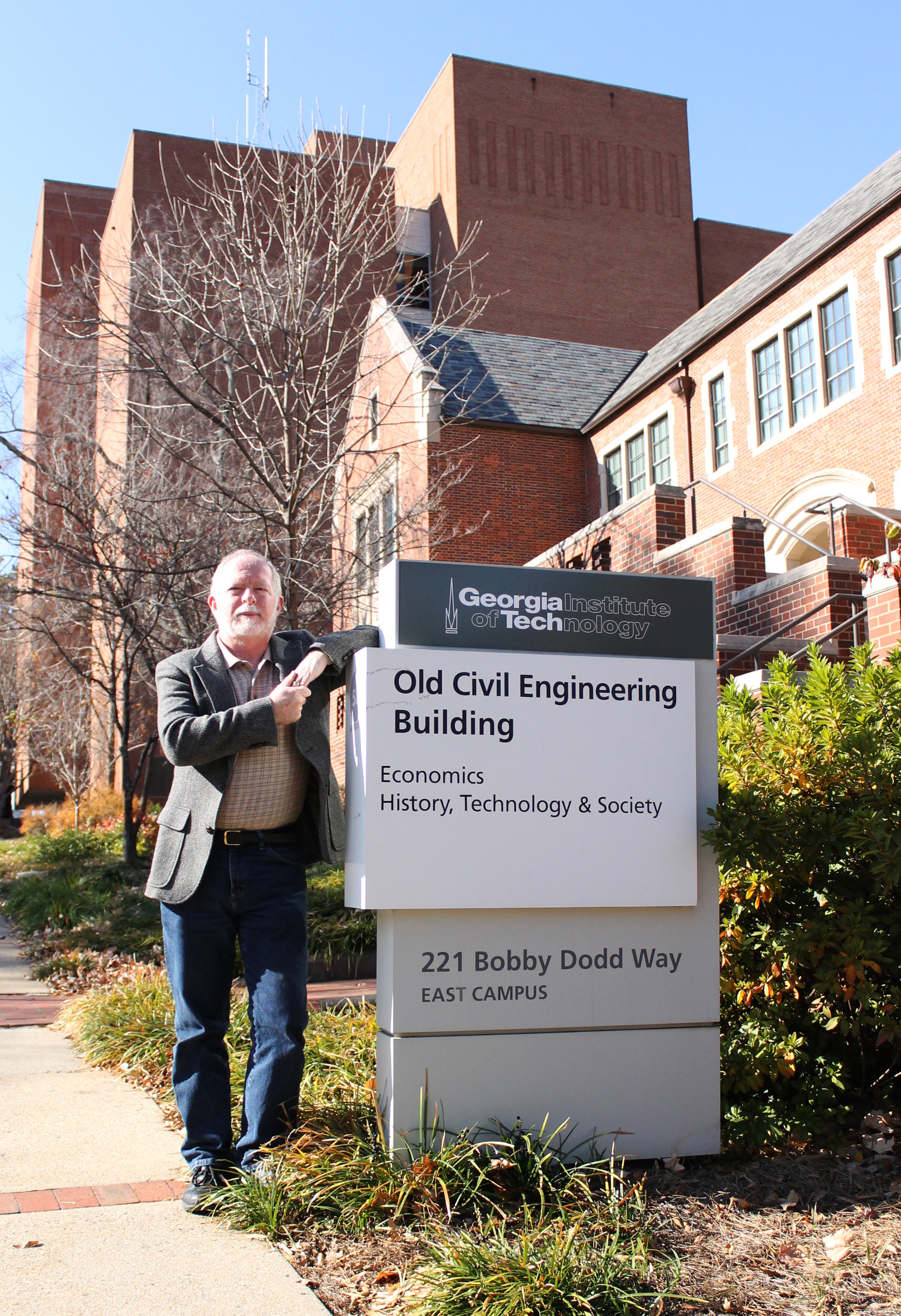 Dr. David Laband in front of Old CE Building